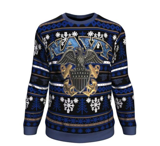 us military navy all over printed ugly christmas sweater 2