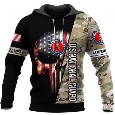 us national guard skull american flag camo full over printed hoodie