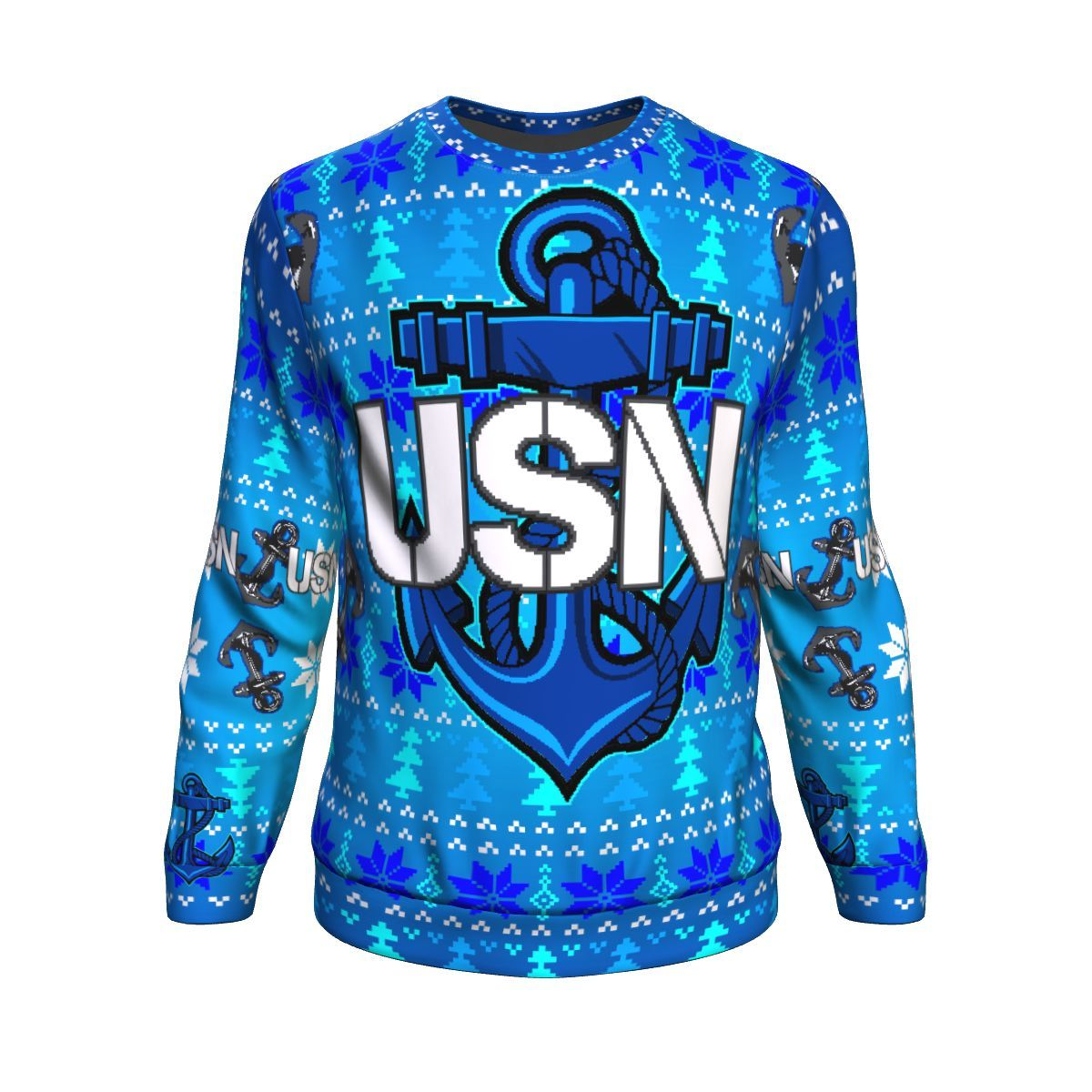 us navy anchor all over printed ugly christmas sweater 2