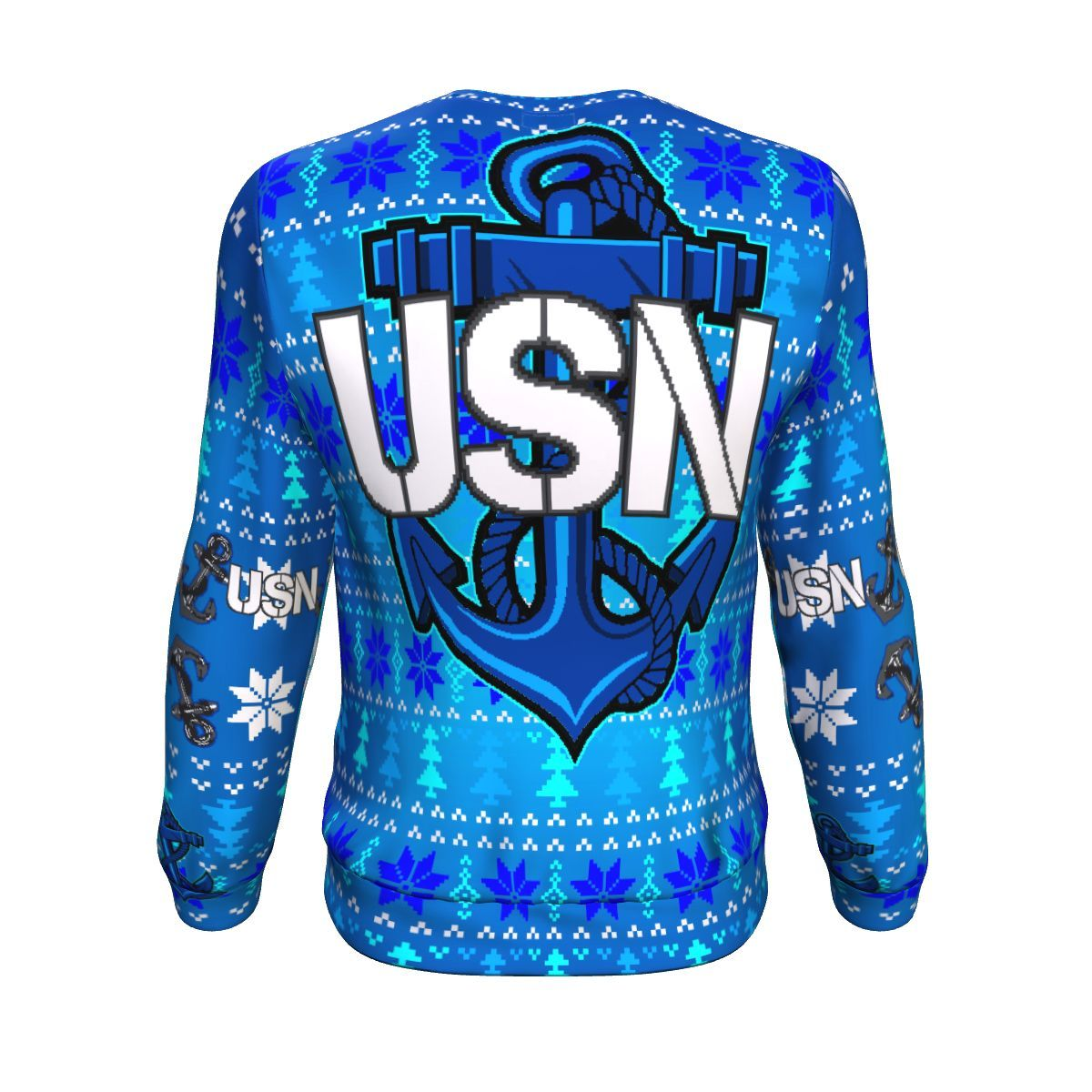 us navy anchor all over printed ugly christmas sweater 4
