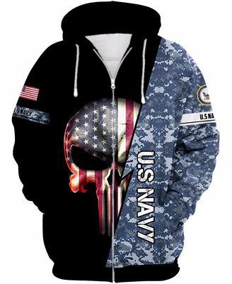 us navy skull american flag camo full over printed zip hoodie