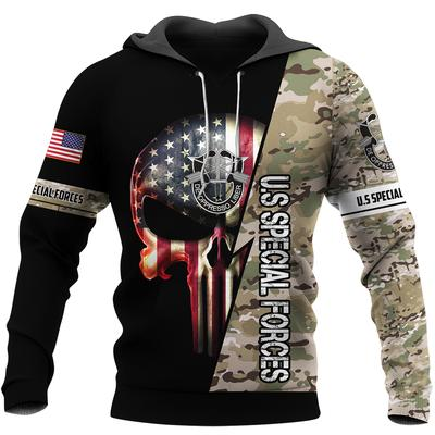 us special forces skull american flag camo full over printed shirt 2
