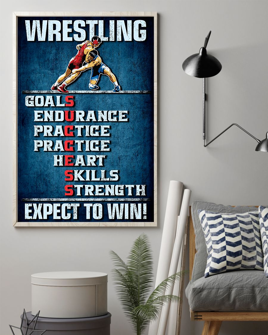 wrestling goals skills strength expect to win vintage poster 2