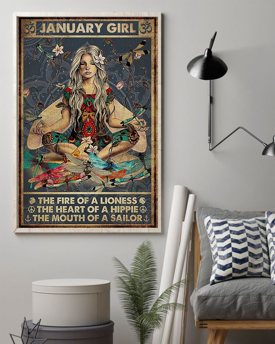 yoga january girl the fire of a lioness the heart of hippie poster 2