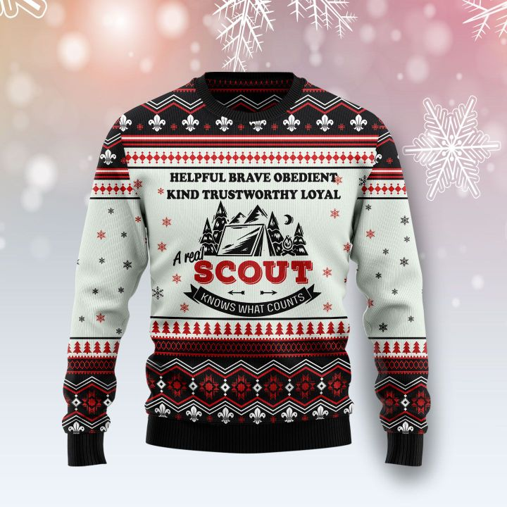 a real scout knows what counts all over printed ugly christmas sweater 3