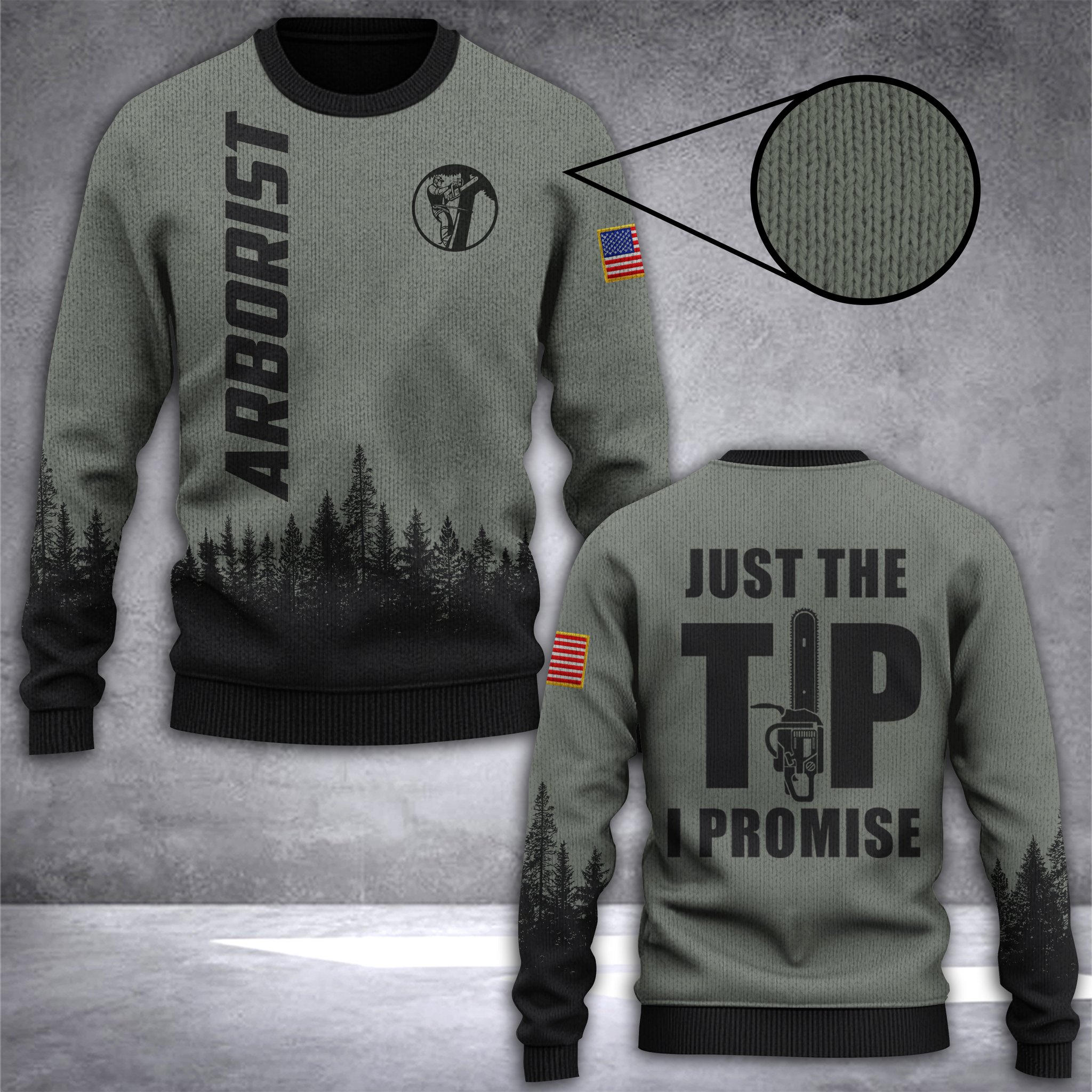arborist just the tip i promise all over print ugly christmas sweater 2