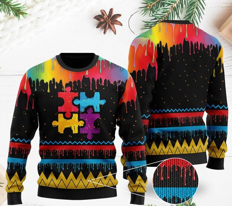 autism awareness watercolor all over printed ugly christmas sweater 2