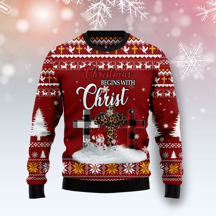 christmas begins with Christ all over printed ugly christmas sweater 4