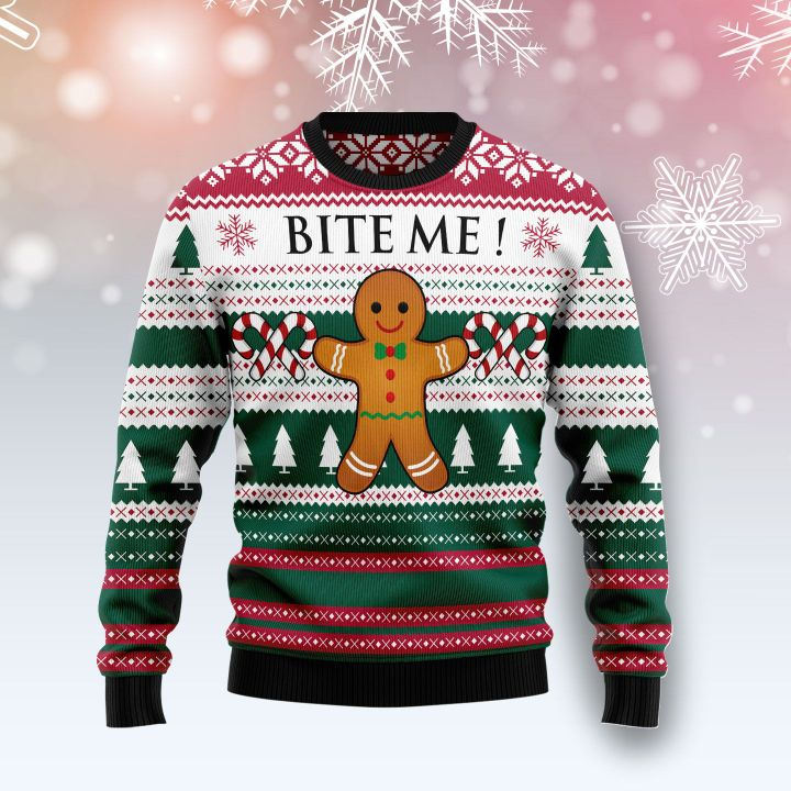 christmas cookies bite me all over printed ugly christmas sweater 2