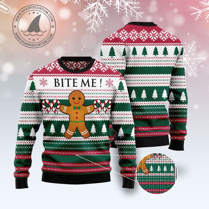 christmas cookies bite me all over printed ugly christmas sweater 5