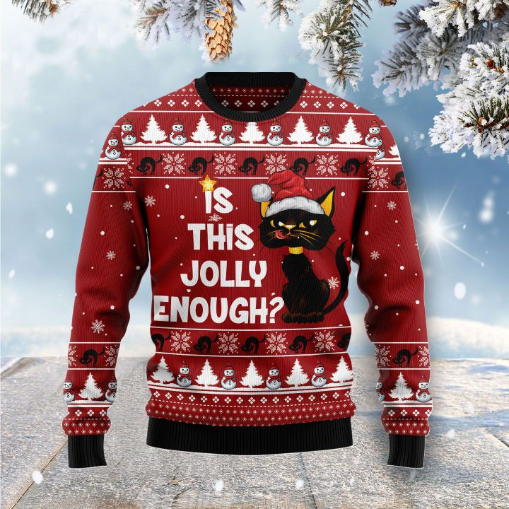 christmas light black cat is this jolly enough all over printed ugly christmas sweater 3