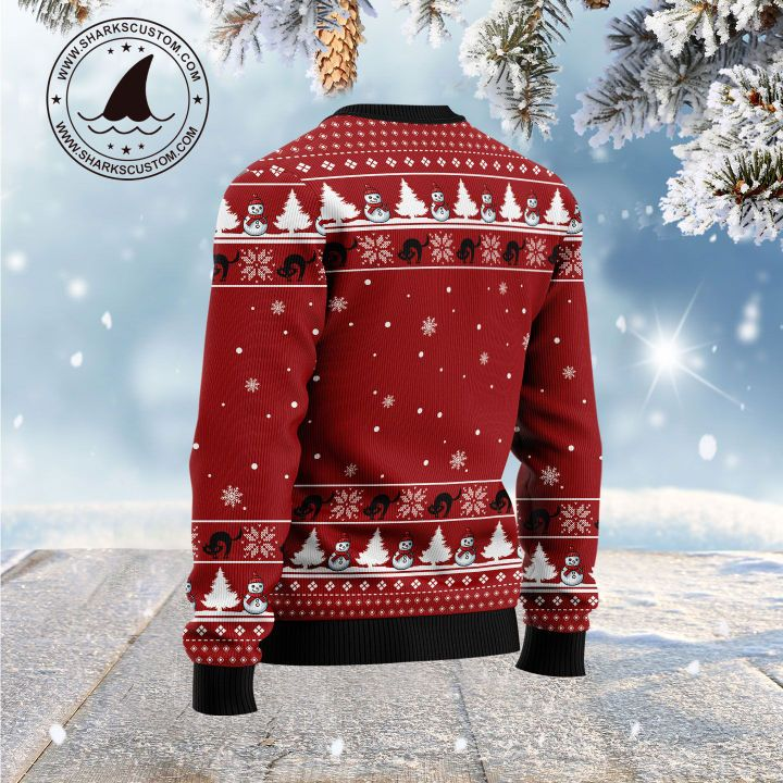 christmas light black cat is this jolly enough all over printed ugly christmas sweater 4