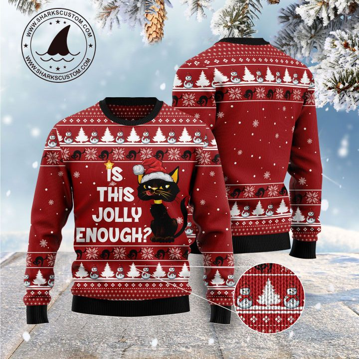 christmas light black cat is this jolly enough all over printed ugly christmas sweater 5