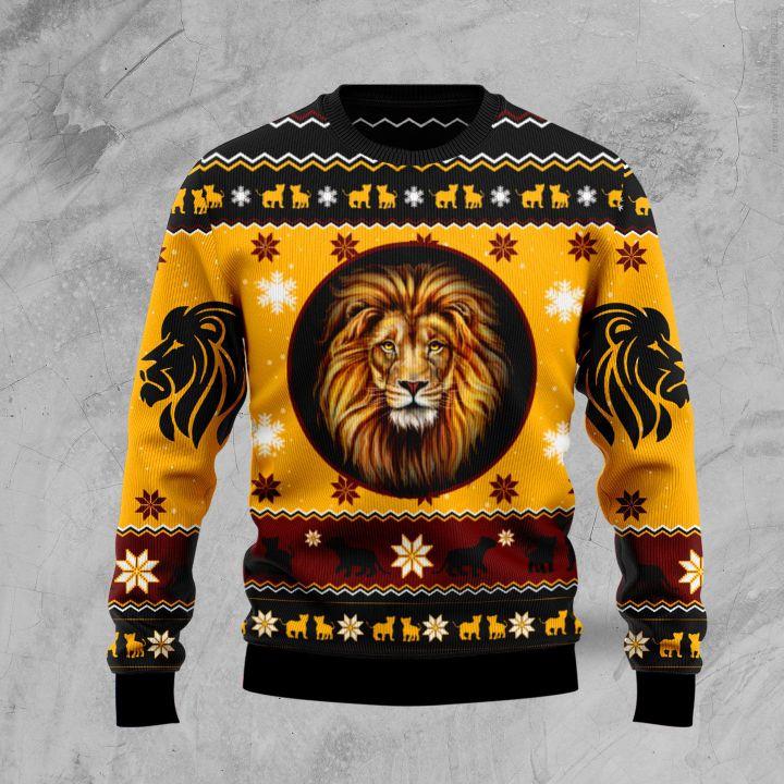 christmas lion all over printed ugly christmas sweater 2