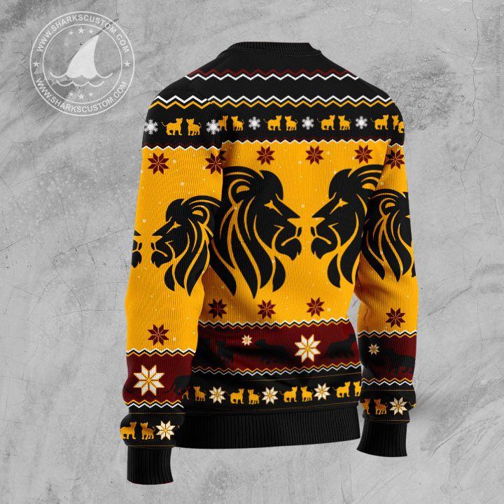 christmas lion all over printed ugly christmas sweater 4