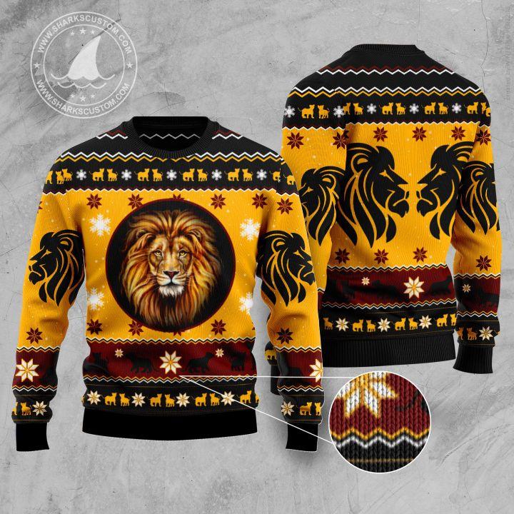 christmas lion all over printed ugly christmas sweater 5