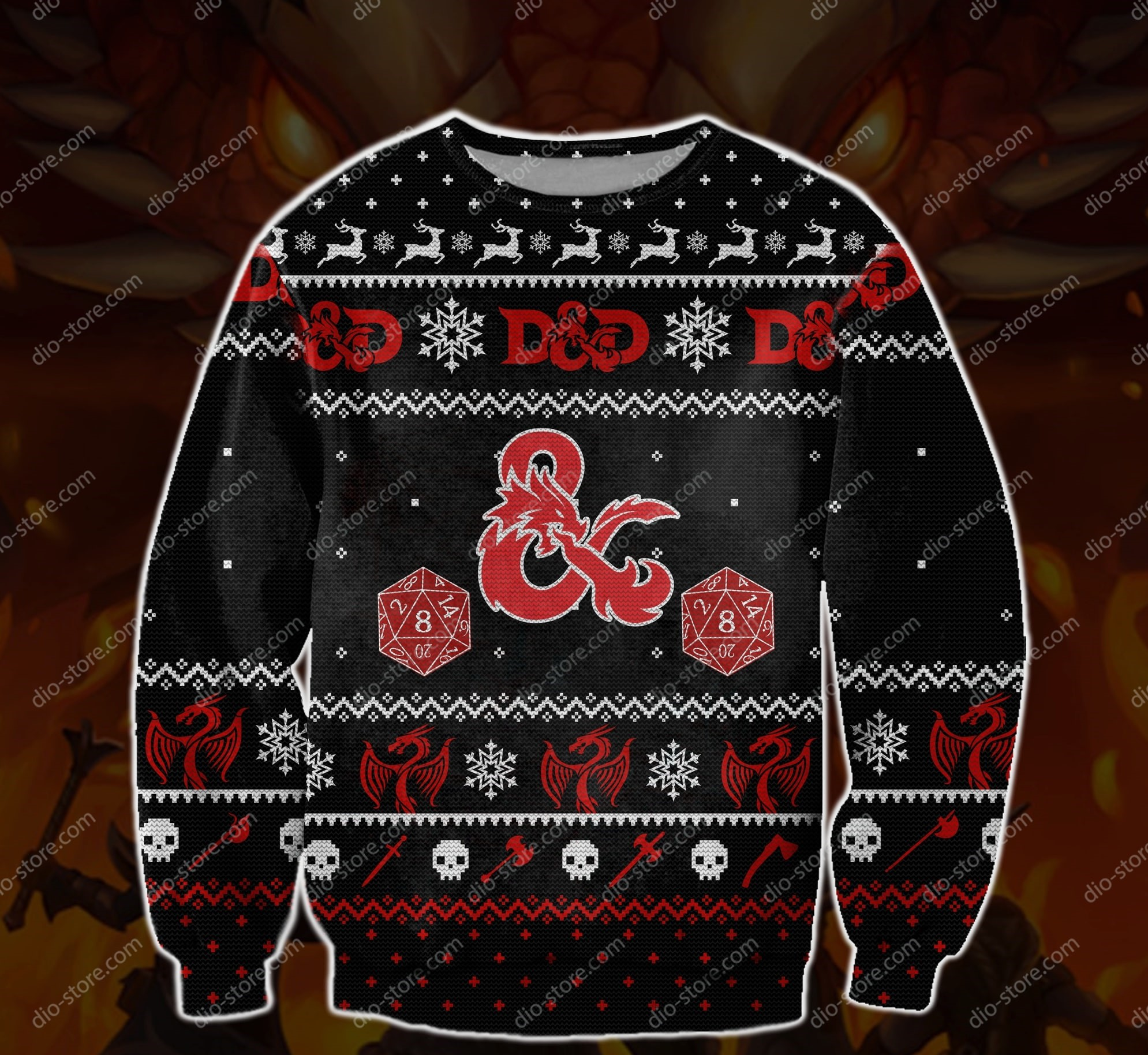 dungeons and dragons all over printed ugly christmas sweater 2