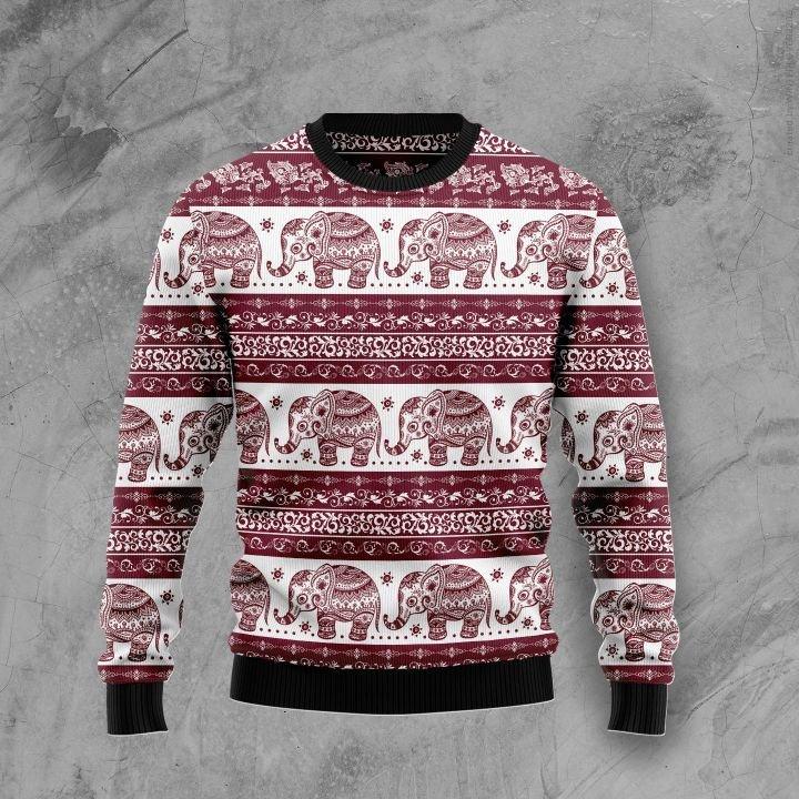 elephant mandala all over printed ugly christmas sweater 3