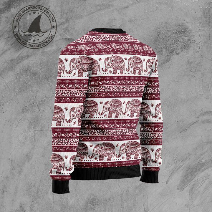 elephant mandala all over printed ugly christmas sweater 4
