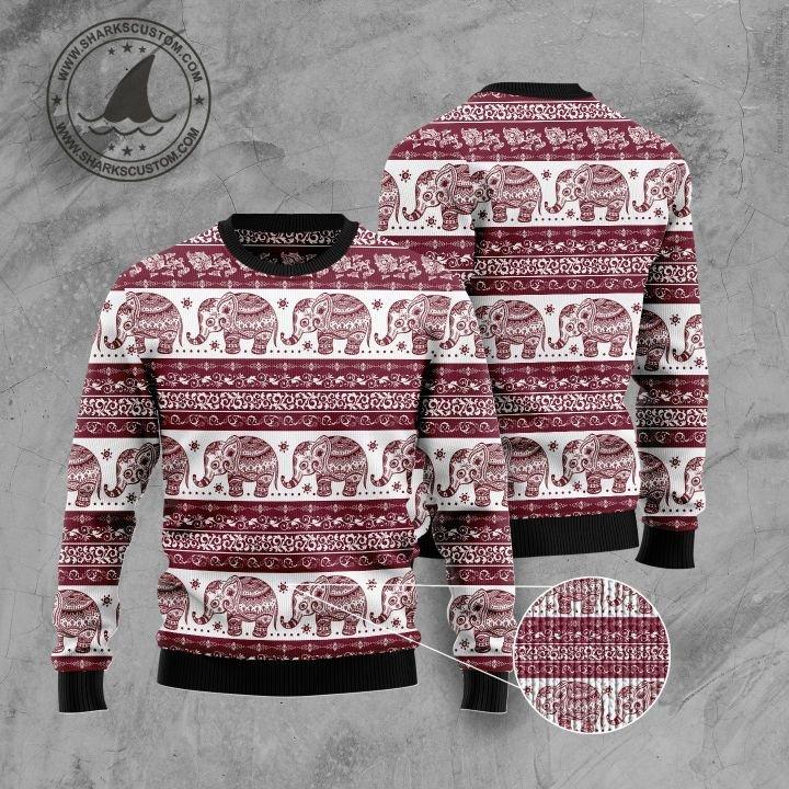 elephant mandala all over printed ugly christmas sweater 5