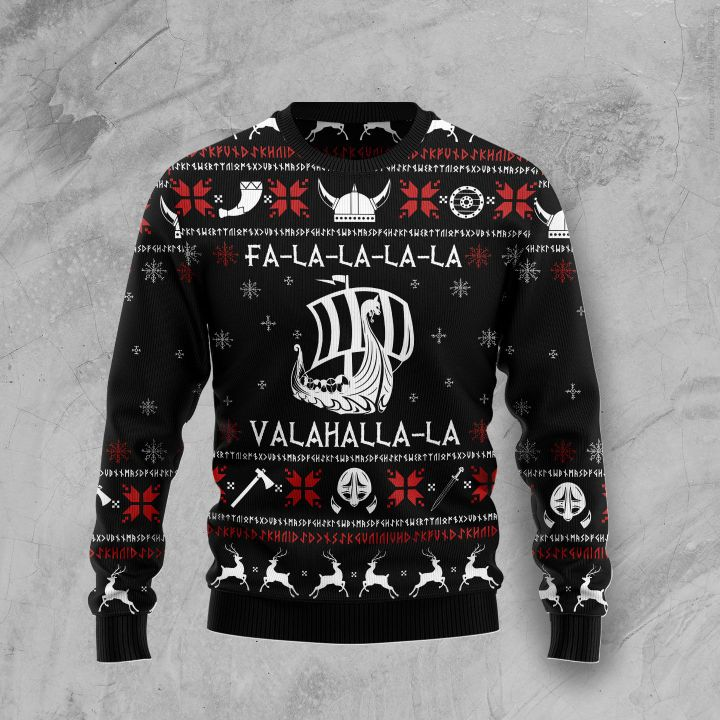 fa-la-la-la-la valhalla-la ugly christmas sweater 2