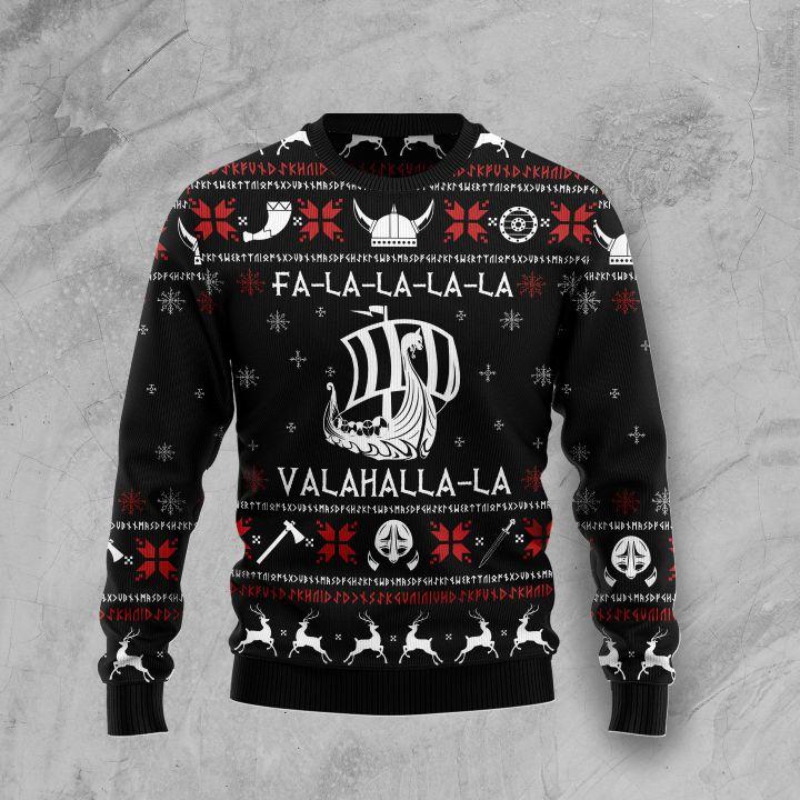 fa-la-la-la-la valhalla-la ugly christmas sweater 3