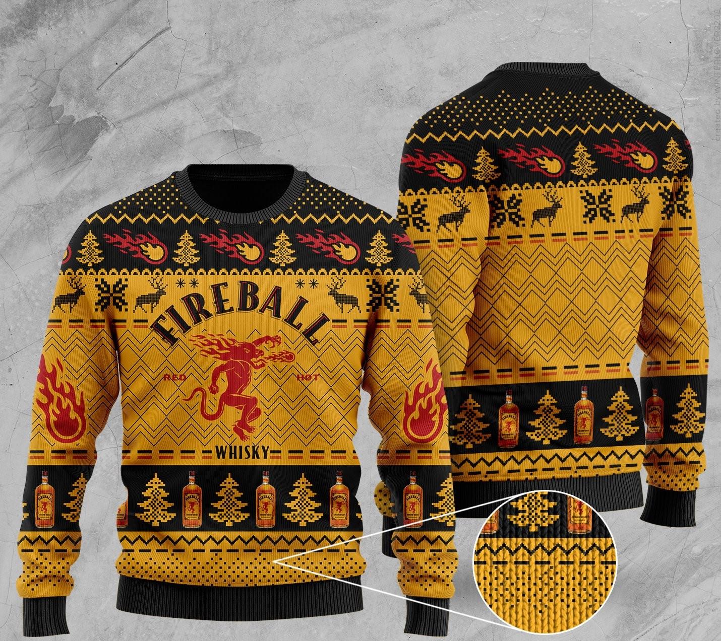 fireball cinnamon whisky all over print ugly christmas sweater 2 - Copy