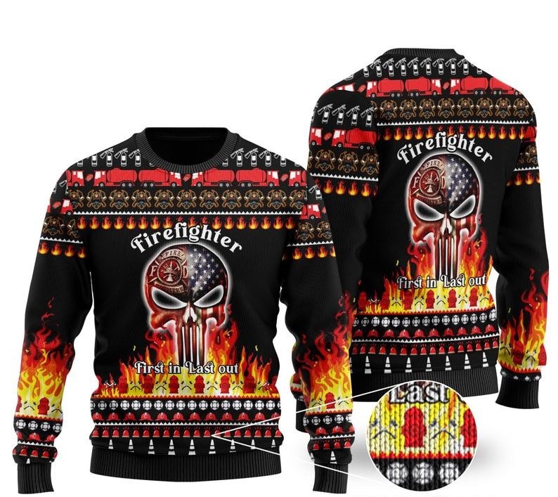 firefighter first in last out all over printed ugly christmas sweater 2