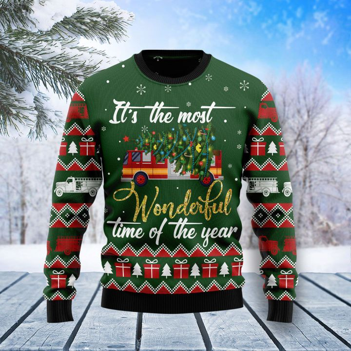 firefighter its the most wonderful time of year all over printed ugly christmas sweater 3