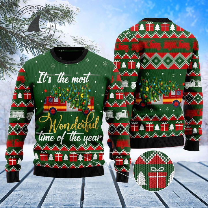 firefighter its the most wonderful time of year all over printed ugly christmas sweater 5