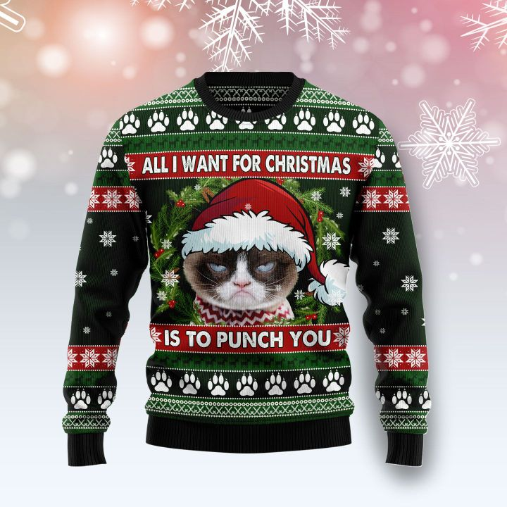grumpy cat all i want for christmas is to punch you ugly christmas sweater 2