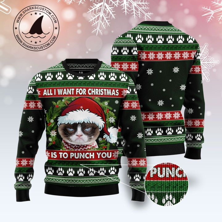 grumpy cat all i want for christmas is to punch you ugly christmas sweater 5