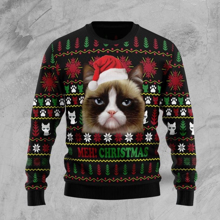 grumpy cat meh christmas all over printed ugly christmas sweater 2