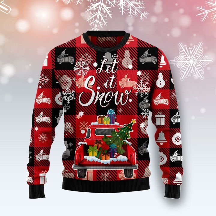 hallmark red truck let it snow all over printed ugly christmas sweater 3