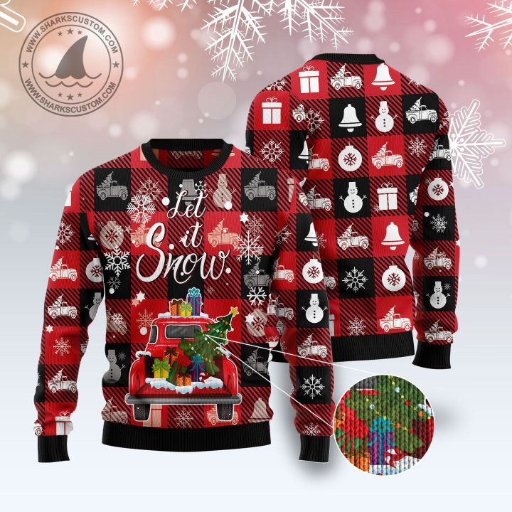 hallmark red truck let it snow all over printed ugly christmas sweater 4