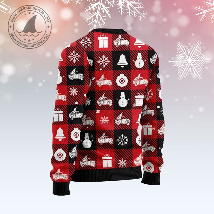 hallmark red truck let it snow all over printed ugly christmas sweater 5