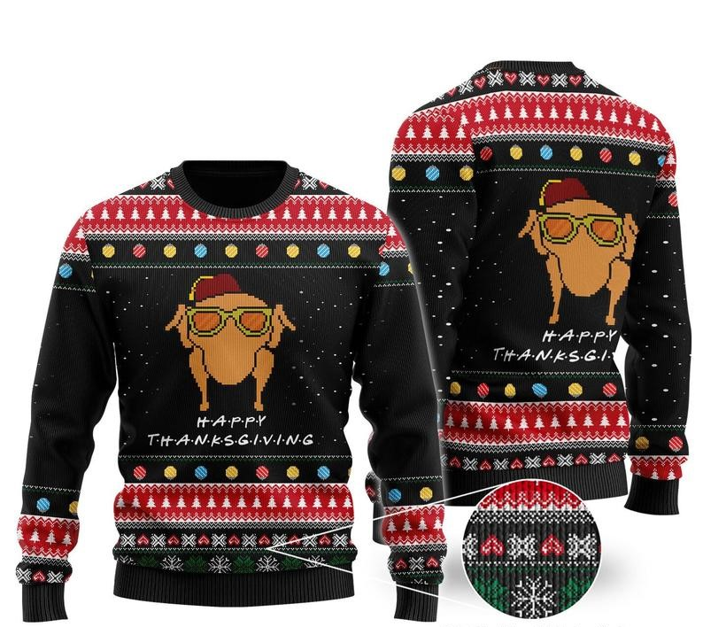 happy thanksgiving turkey all over printed ugly christmas sweater 2
