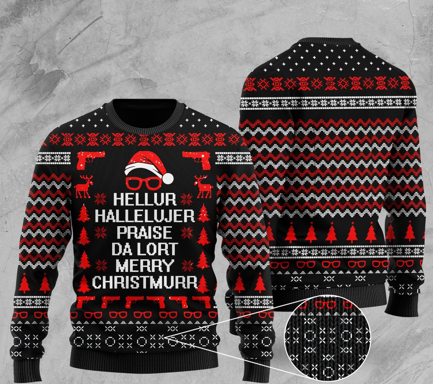 hellur hallelujer praise da lort merry christmas all over print ugly christmas sweater 2 - Copy