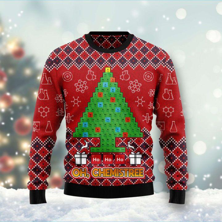 ho ho ho oh chemistree all over printed ugly christmas sweater 2