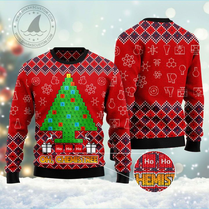 ho ho ho oh chemistree all over printed ugly christmas sweater 5