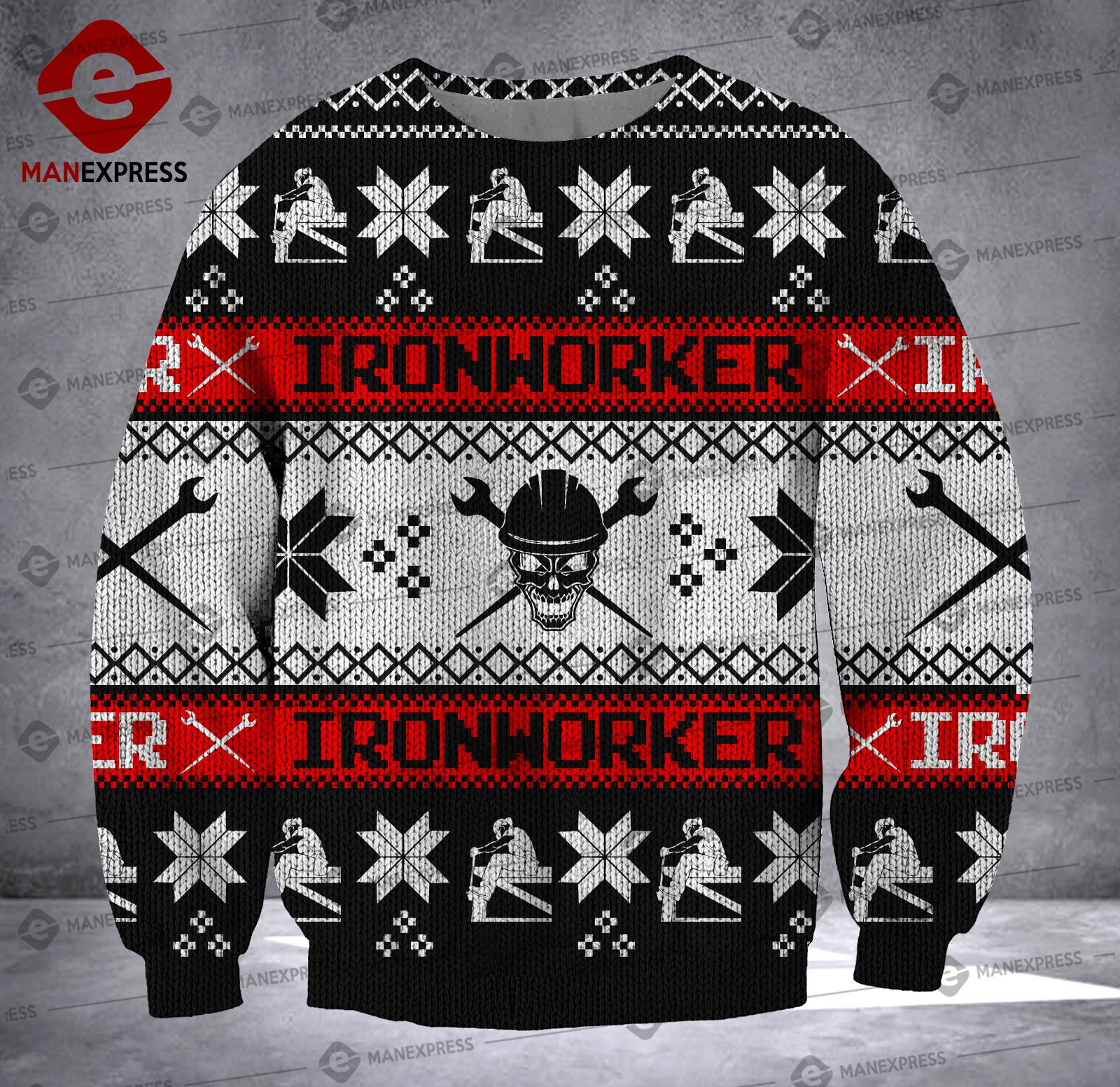 ironworker skull all over printed ugly christmas sweater 4