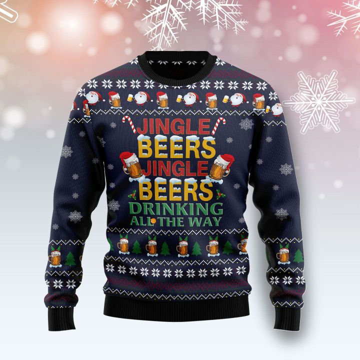 jingle beers jingle beers drinking all the way all over printed ugly christmas sweater 3