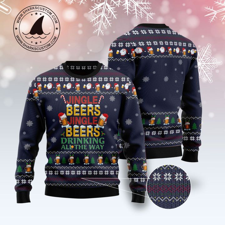 jingle beers jingle beers drinking all the way all over printed ugly christmas sweater 5