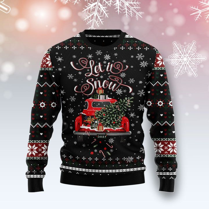 let it snow red truck all over printed ugly christmas sweater 3