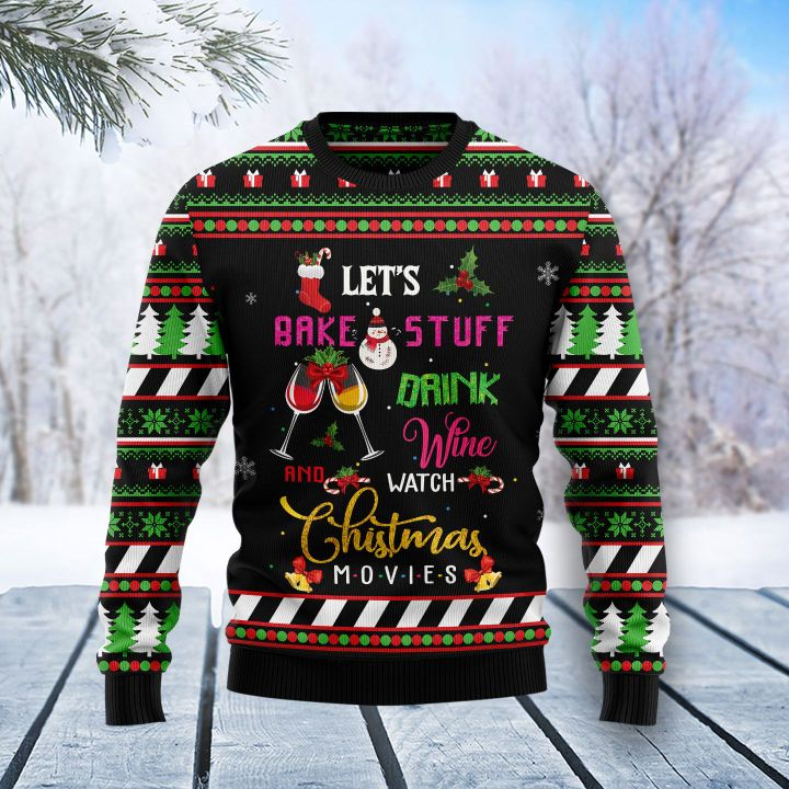 lets bake stuff and watch hallmark movies all over printed ugly christmas sweater 3