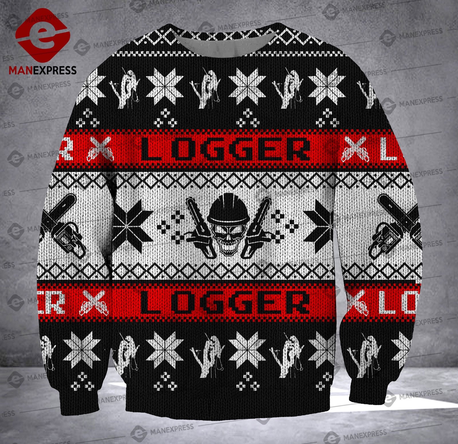 logger skull all over printed ugly christmas sweater 4