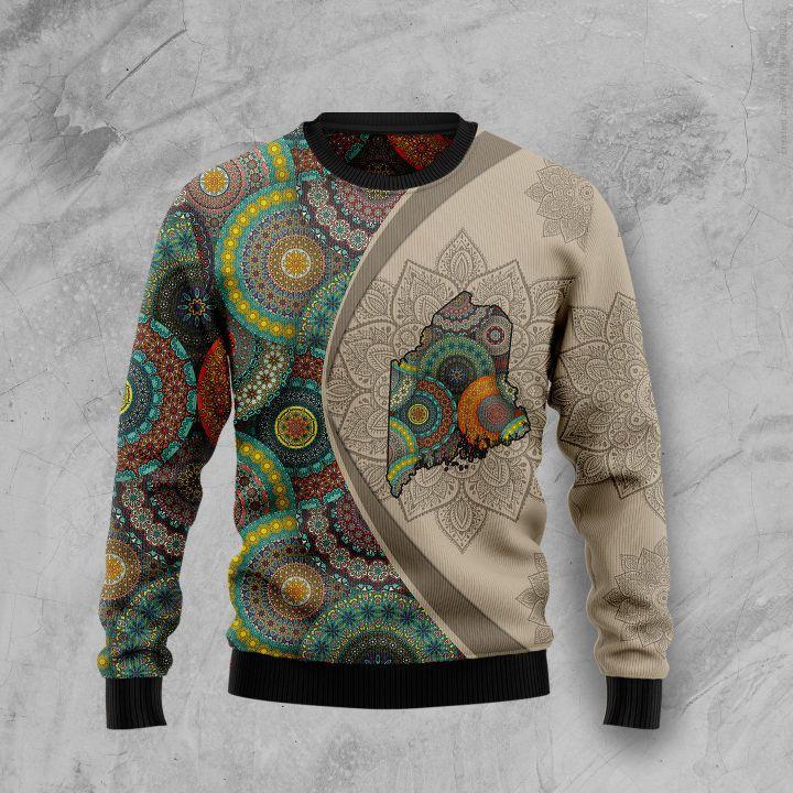 maine mandala all over printed ugly christmas sweater 3