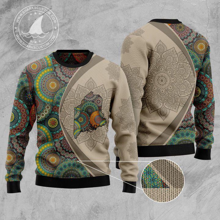 maine mandala all over printed ugly christmas sweater 5