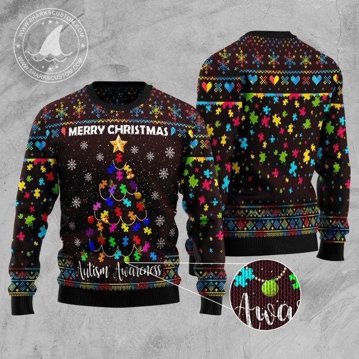 merry christmas autism awareness christmas tree all over printed ugly christmas sweater 2