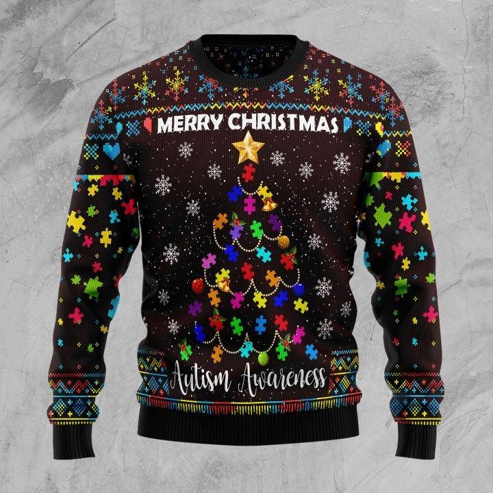merry christmas autism awareness christmas tree all over printed ugly christmas sweater 5